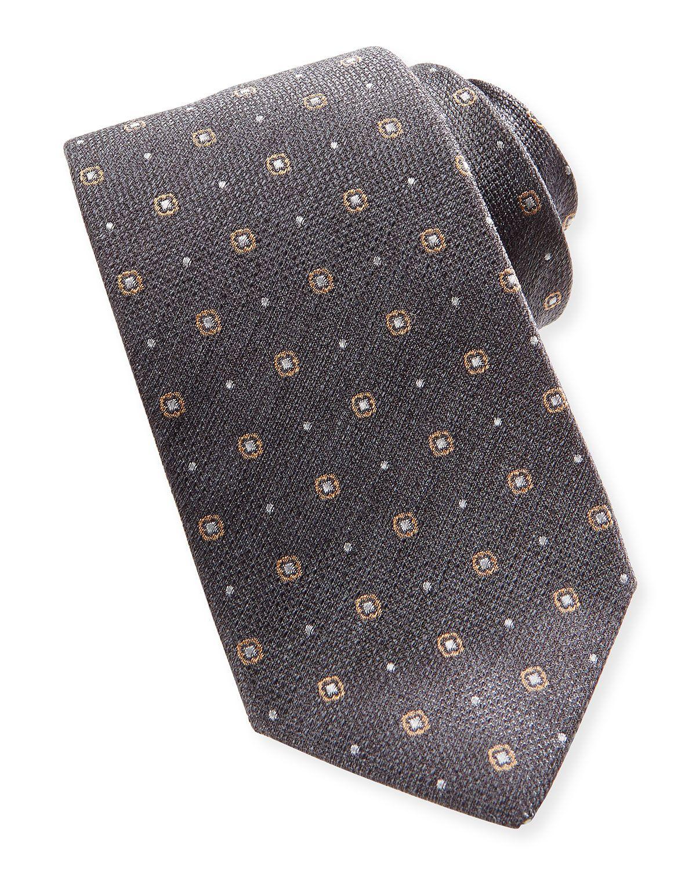Woven Dot-Neat Tie, Gray