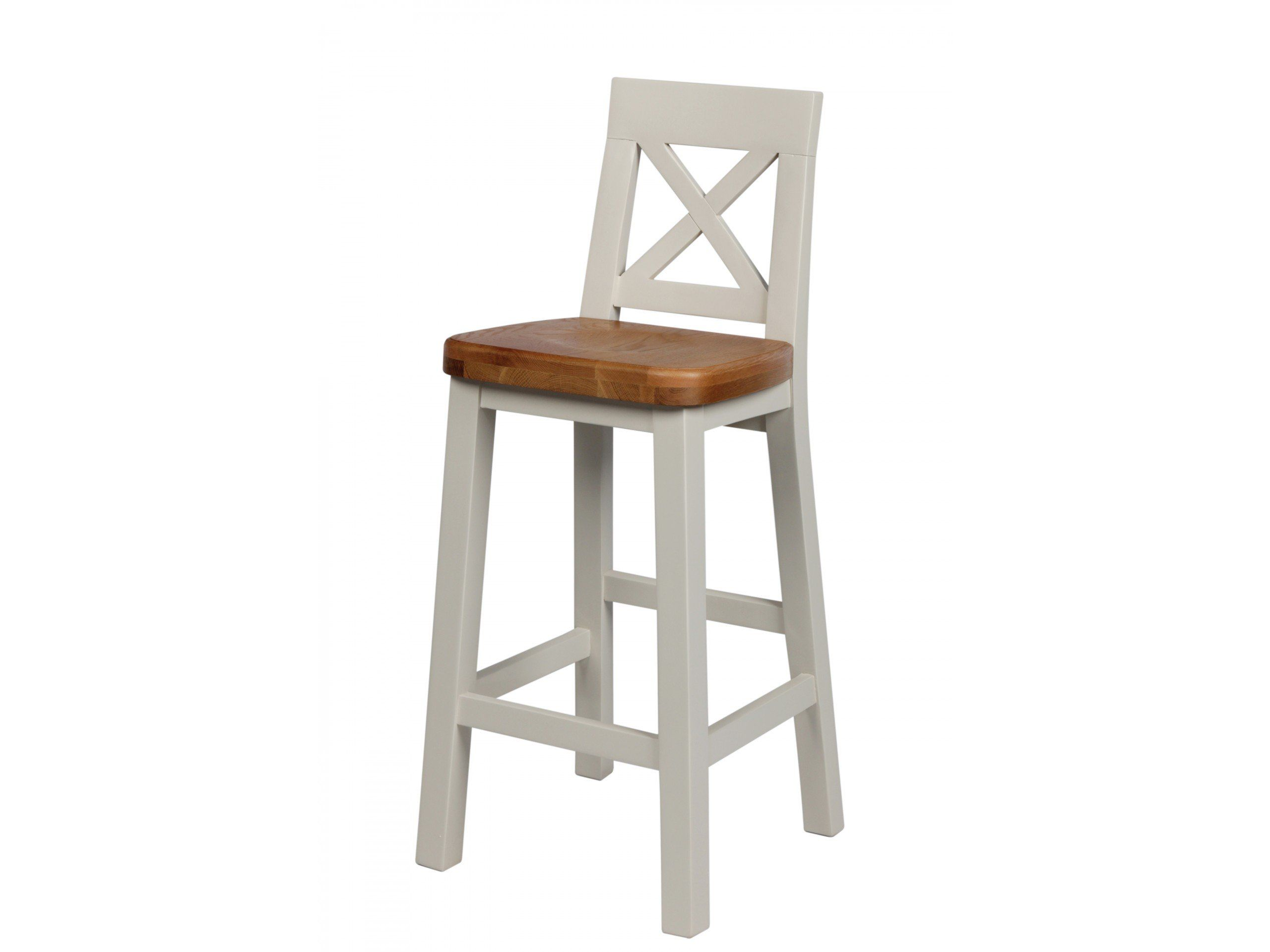 Billy Grey Painted Cross Back Bar Stool With Solid American Oak Seat These Stools