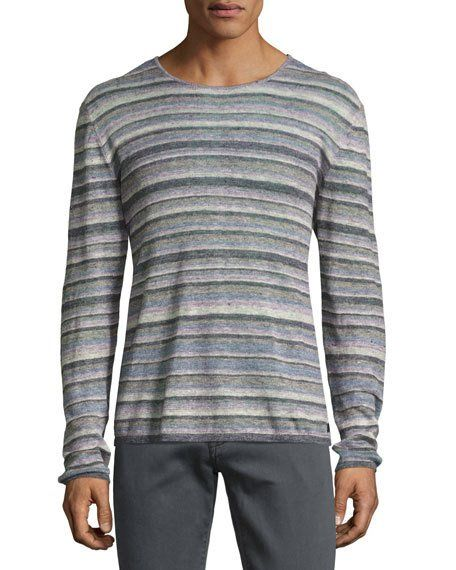 JOHN VARVATOS STAR USA STRIPED LINEN CREWNECK SWEATER, BLUE/MULTICOLOR. #johnvarvatosstarusa #cloth #