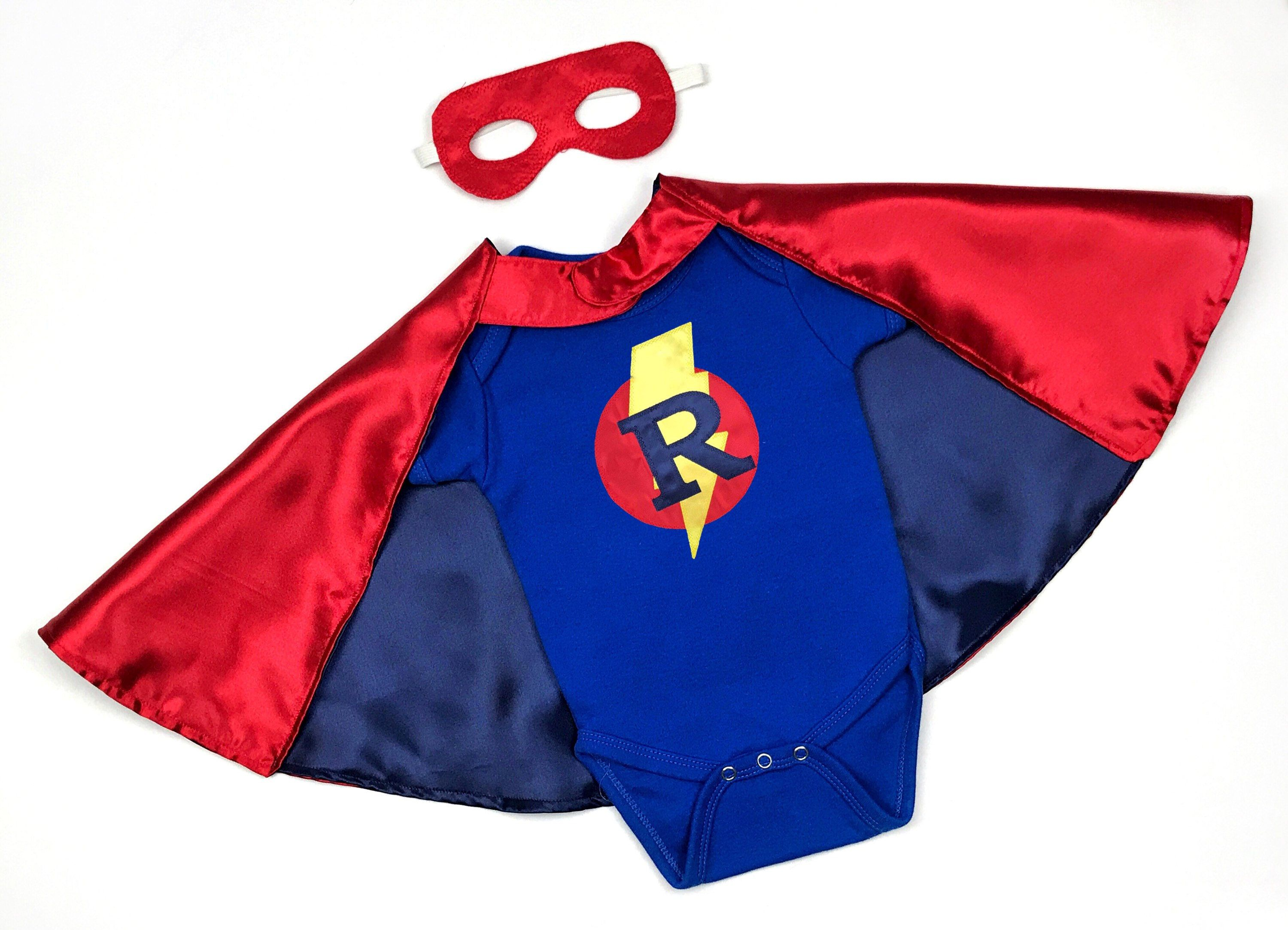 7557834a7 Personalized Baby Bodysuit With Superhero Cape and Mask (Short-Sleeve ) Baby  Superhero,