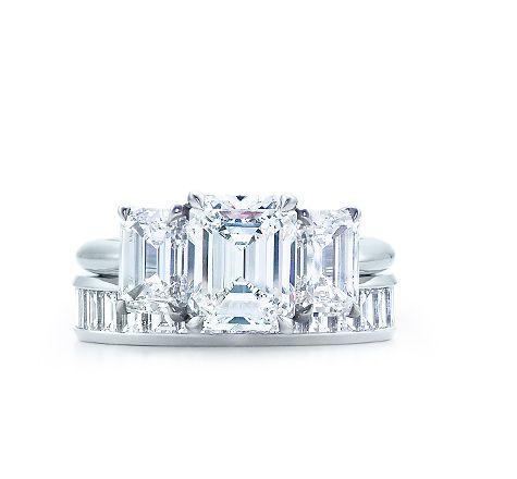 Tiffany Co Emerald Cut Three Stone Engagement Ring Diamond Wedding Band Dream Rings