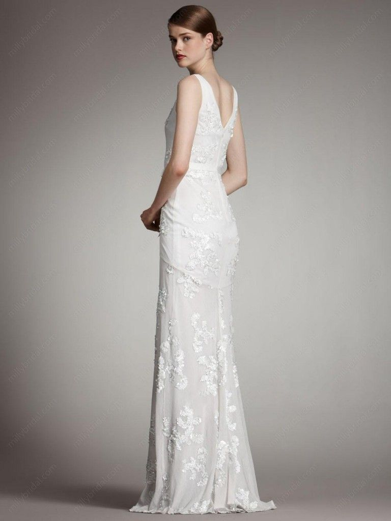 Modern And Simple Enchanting Floor Length Wedding Dress No Train V Neck Lace Chiffon