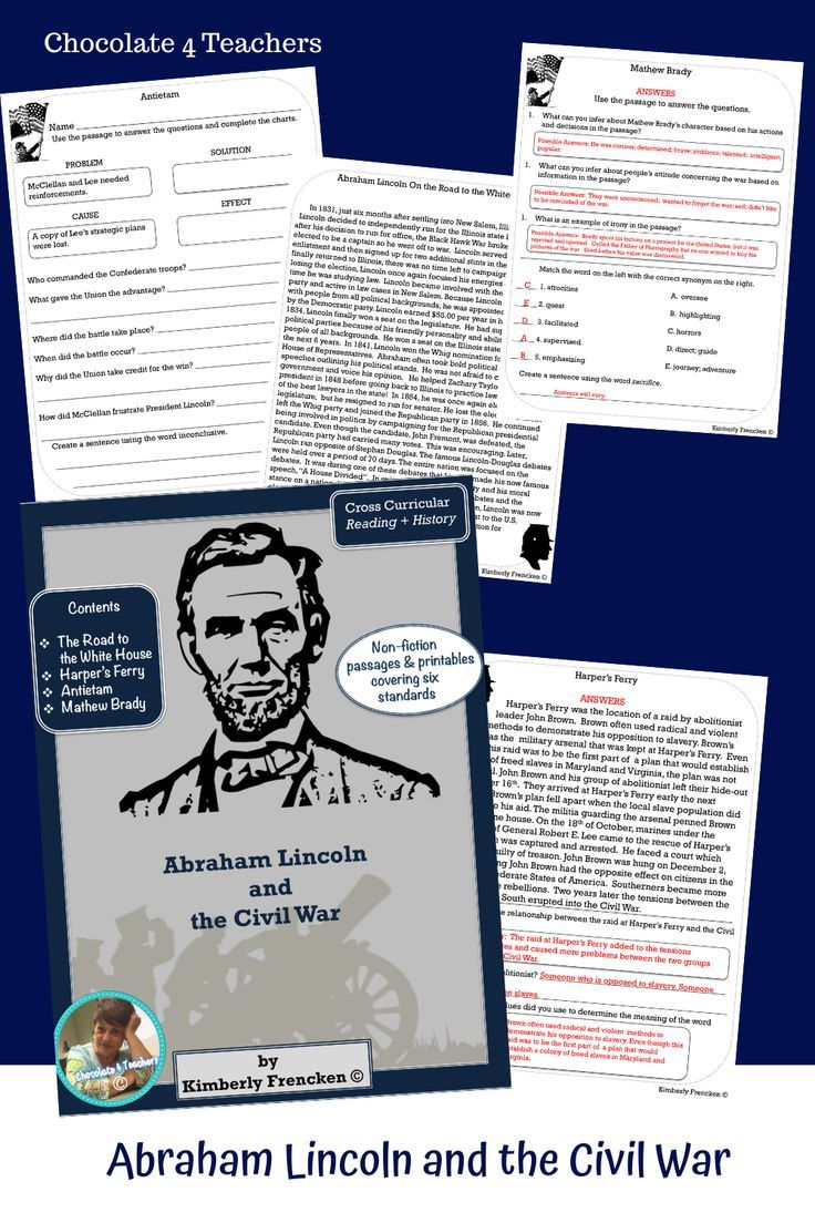Abe Lincoln And The Civil War Four Informational Text Passages Printables Informational Text Passages Informational Text Reading Intervention [ 1104 x 736 Pixel ]