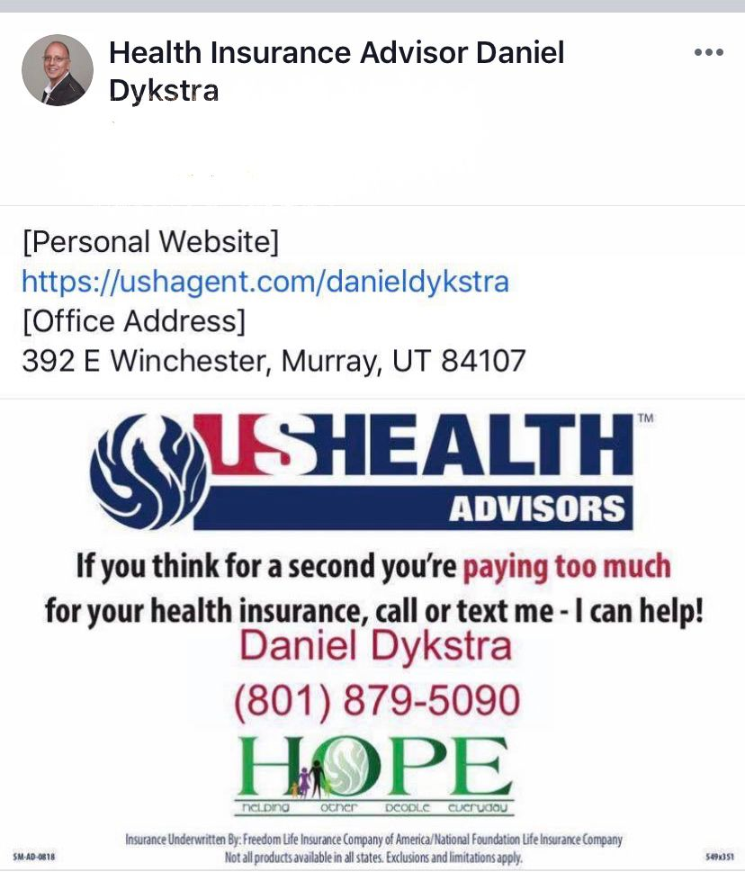 Get A Free Quote By Calling My Husband Daniel At 801 879 5090 Meeting Him At His Office Or Via His Website Http Preventive Care Underwriting Critical Illness