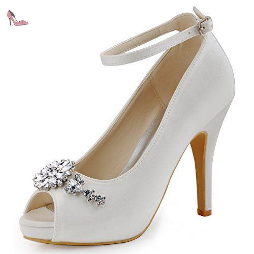 b8138ec2db45d ElegantPark HP1546I Escarpins Femme Boucle Fleur Diamant Bride cheville  Pompes Chaussures Plateforme Ivoire 49 - Chaussures