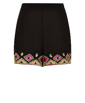 Black and Neon Pink Aztec Embellished Shorts  | New Look