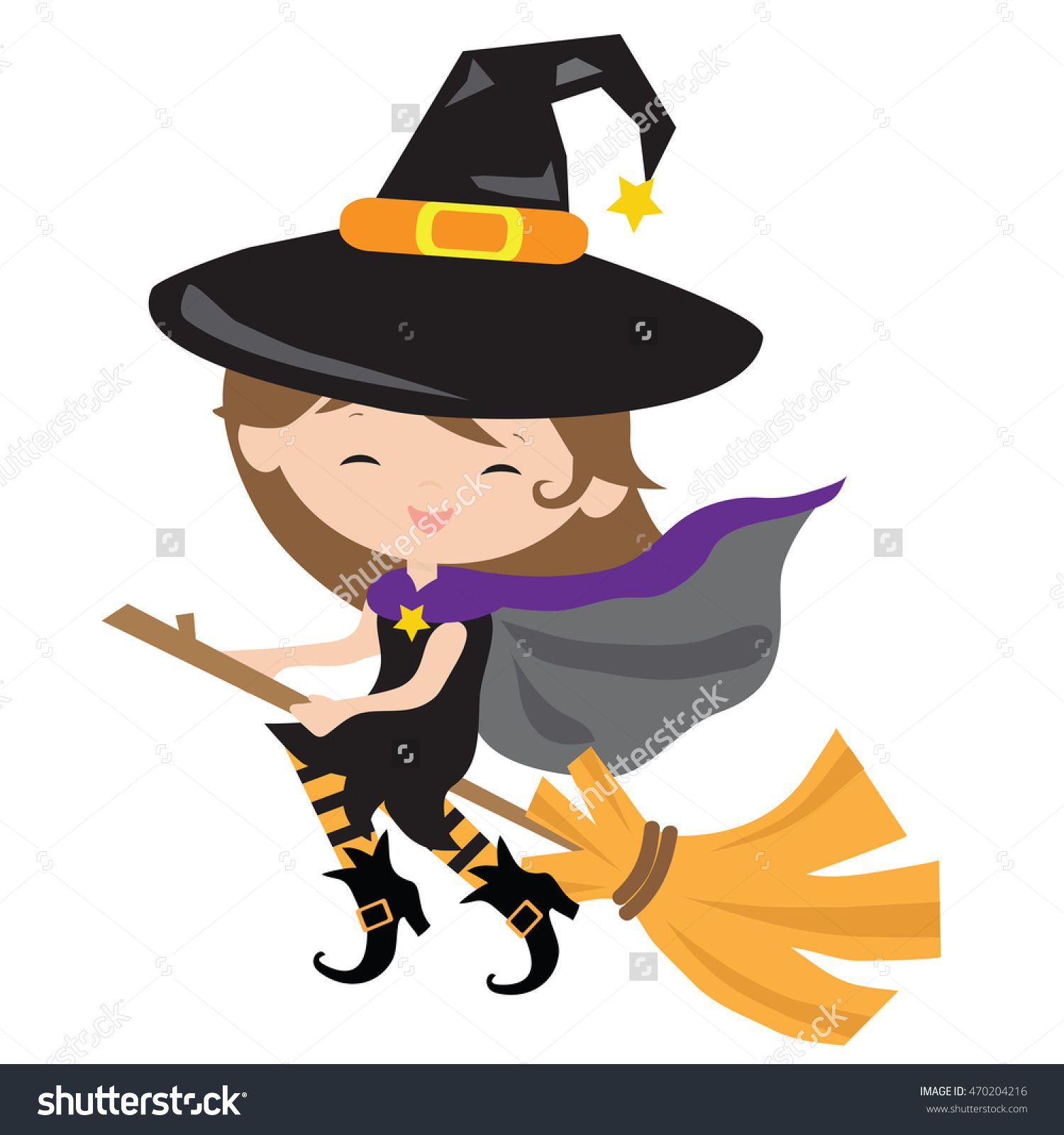 cute witch vector cartoon illustration halloween