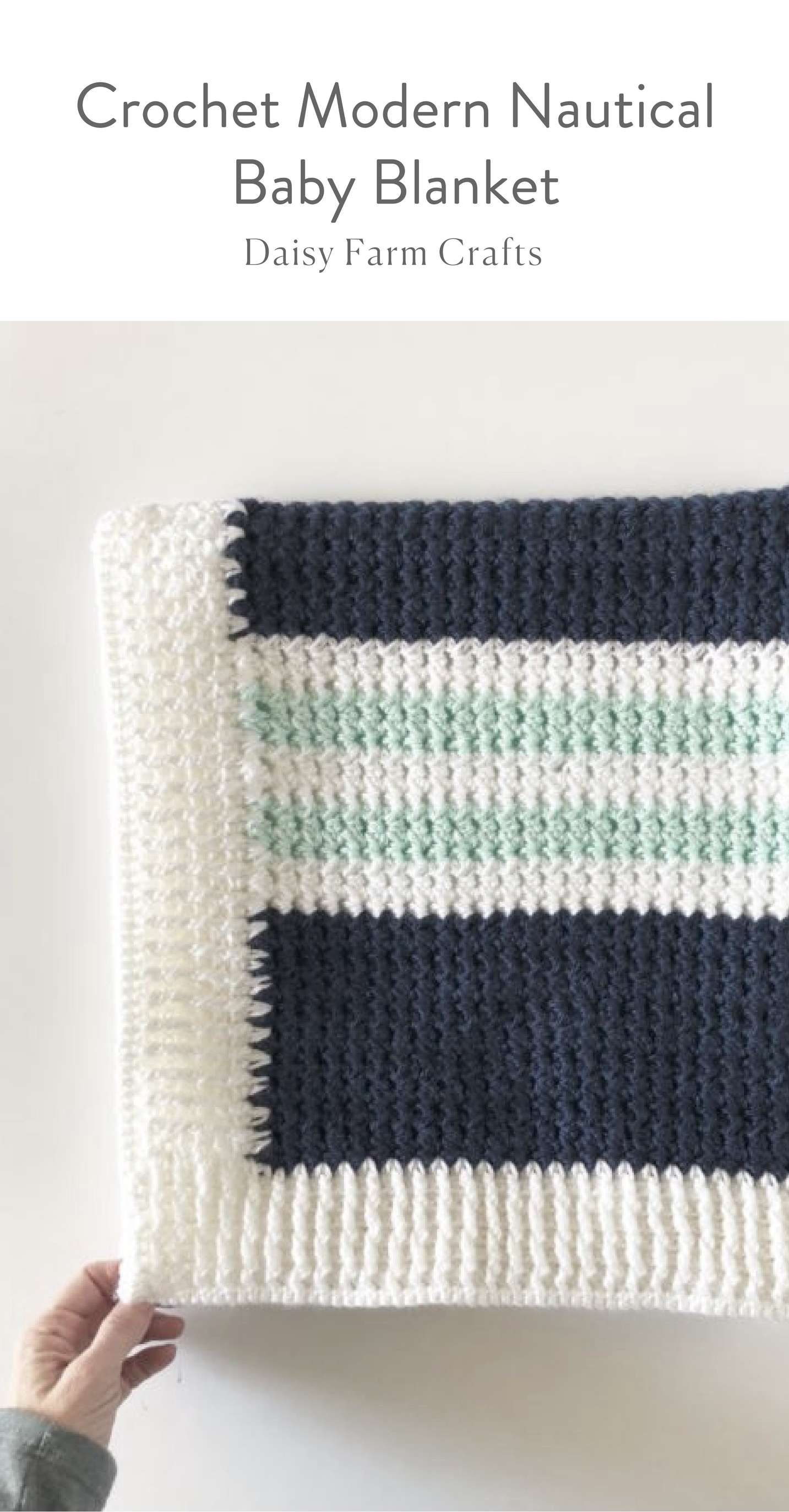 Free Pattern - Crochet Modern Nautical Baby Blanket | Afghans ...
