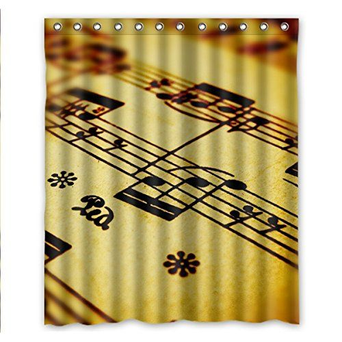 Qyou Generic Retro Music Note Waterproof Polyester Shower Curtain