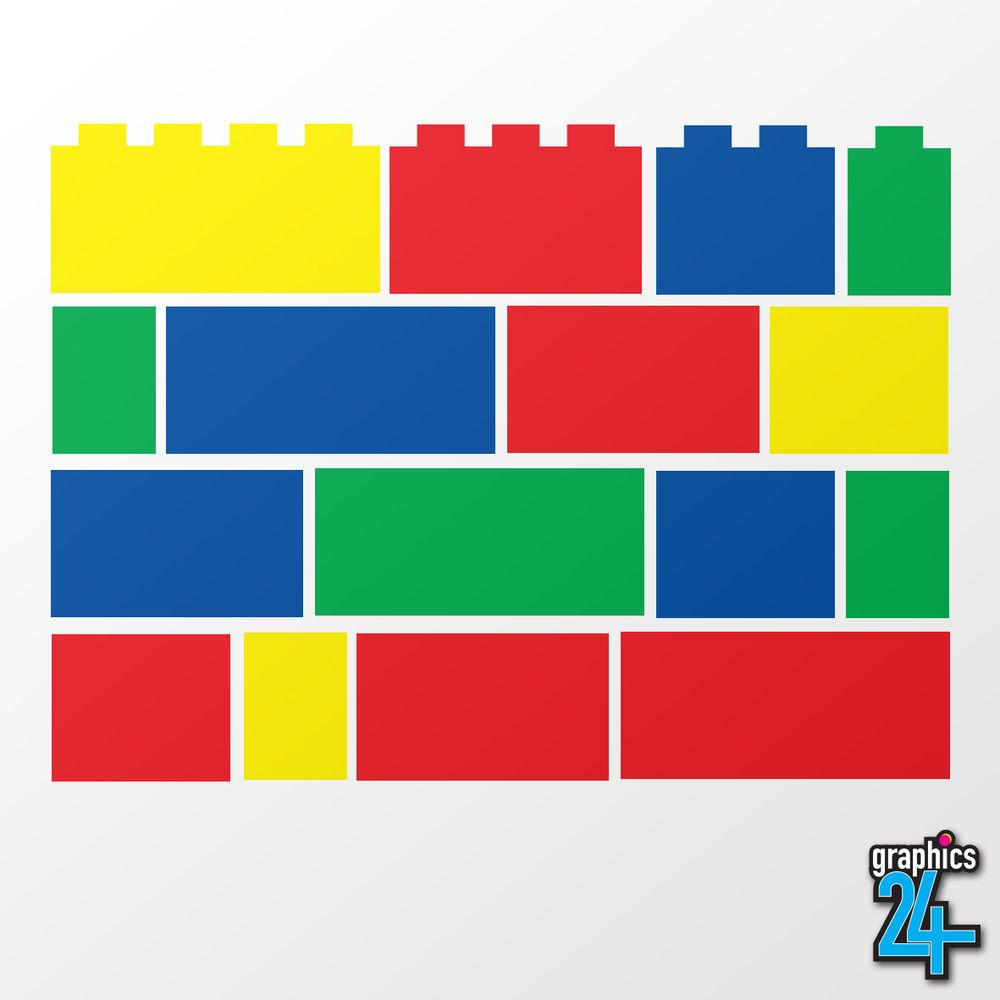 96 x Lego Bricks Set Children's Vinyl Wall Art Sticker ...