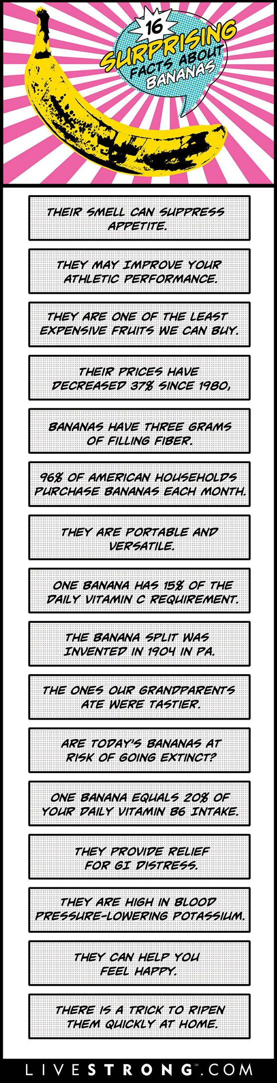 16 Awesome Banana Facts Everyone Should Know (INFOGRAPHIC) http://lvstrng.com/1Ip2ICn