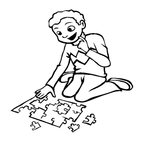 The Boy Playing Puzzle Games Coloring Page Love Coloring Pages