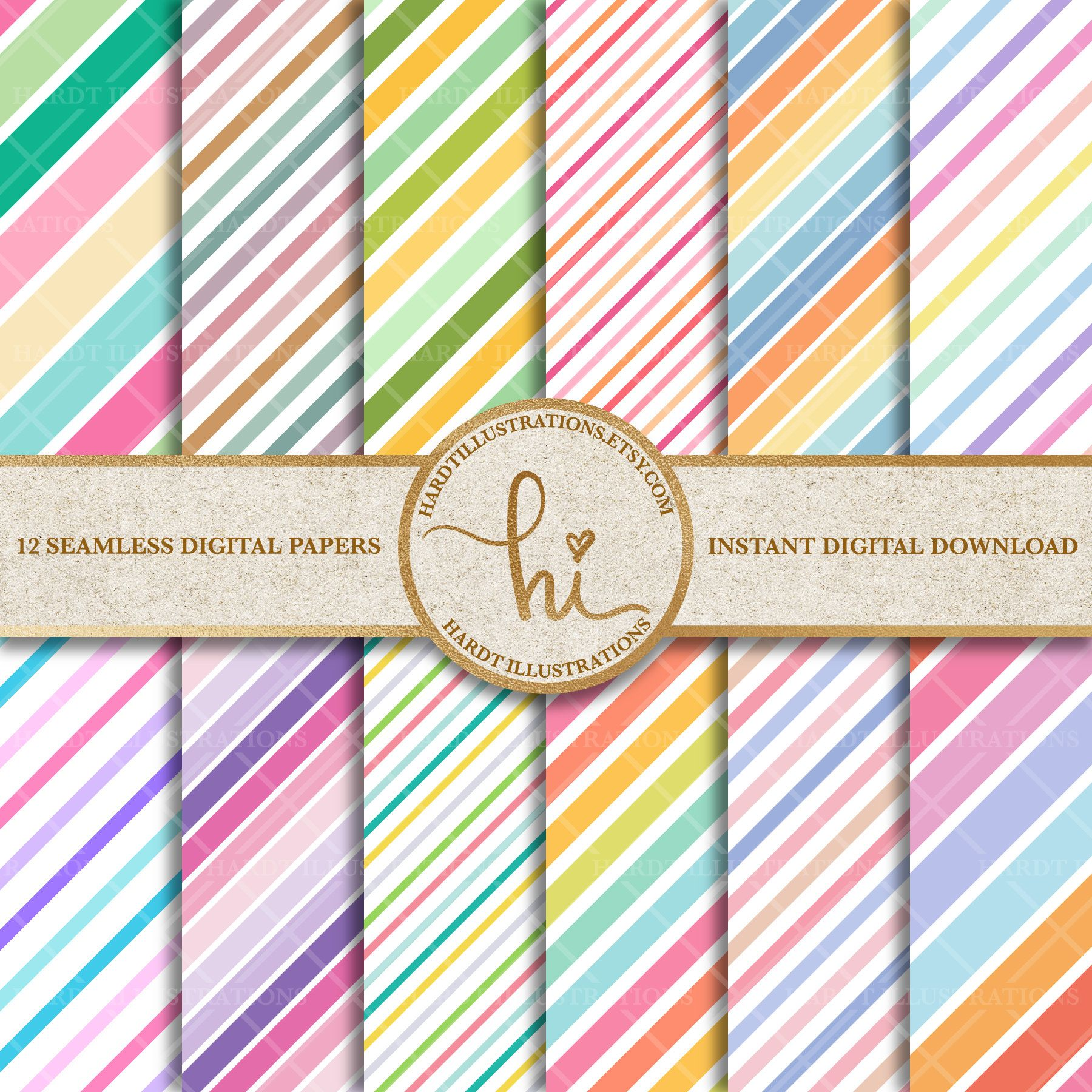 Pastel Stripe Digital Paper Rainbow Candy Stripes Design