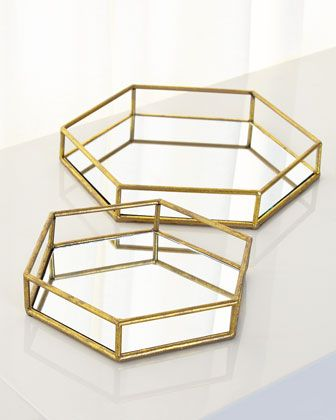 Mirrored Hexagonal Trays Set Of 2 Gold Tray Decor Glass Tray Decor Mirror Tray Decor