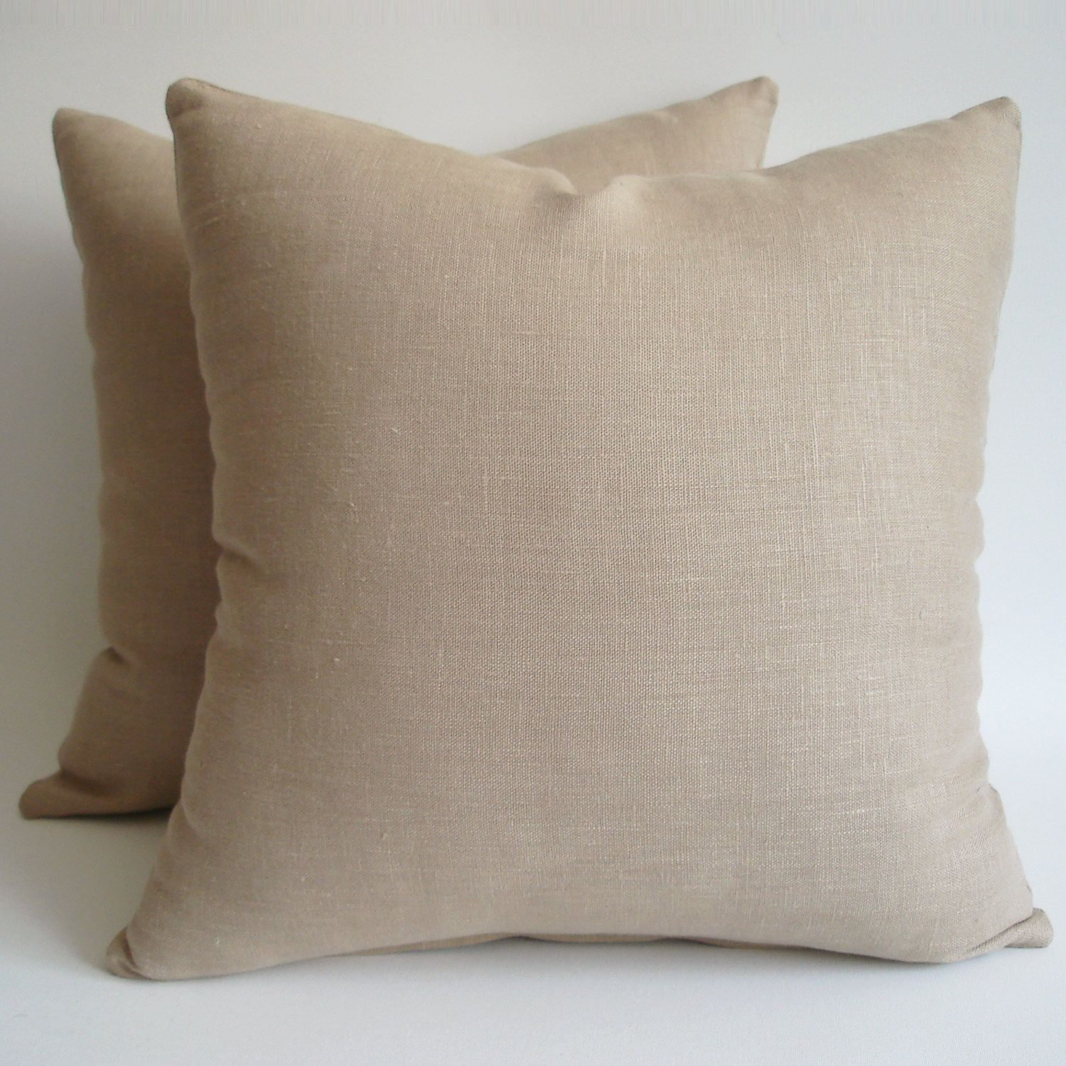 Sukan / SET(2 piece) Off Beige Linen Pillows Decorative ...