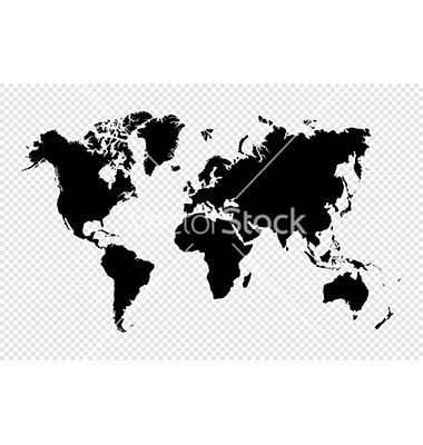 Black silhouette isolated world map eps10 file vector 1820906 - by cienpies on VectorStock®