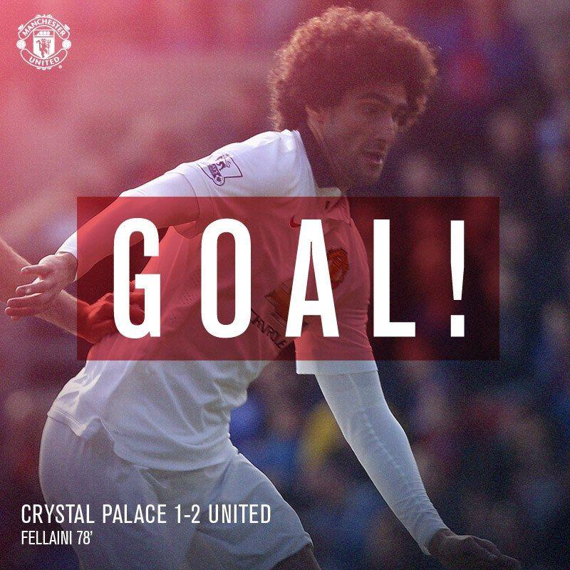 Goal! Crystal Palace 1 United 2 (78'). Marouane Fellaini heads home to regain the lead!