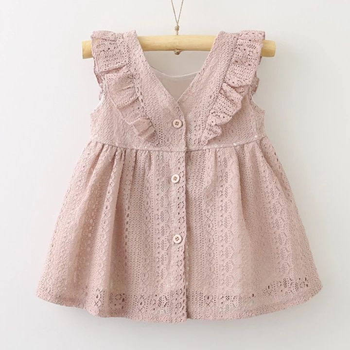 ALL 827.55 36% Off | Baby Girls Clothes Dress 2019 New Summer Children Solid Color Lace Sleeveless Dress Kids Button Party Dress Baby Girl Clothes #babygirlpartydresses