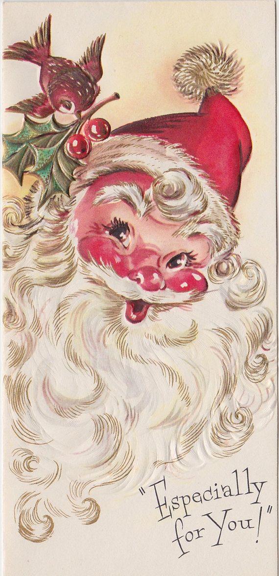 UNUSED 1950\'s Santa and Bird Christmas Card | All things Christmas ...