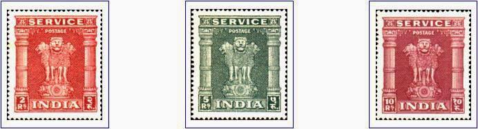 Pilar de Asoka. Sellos de Servicio. India 1960
