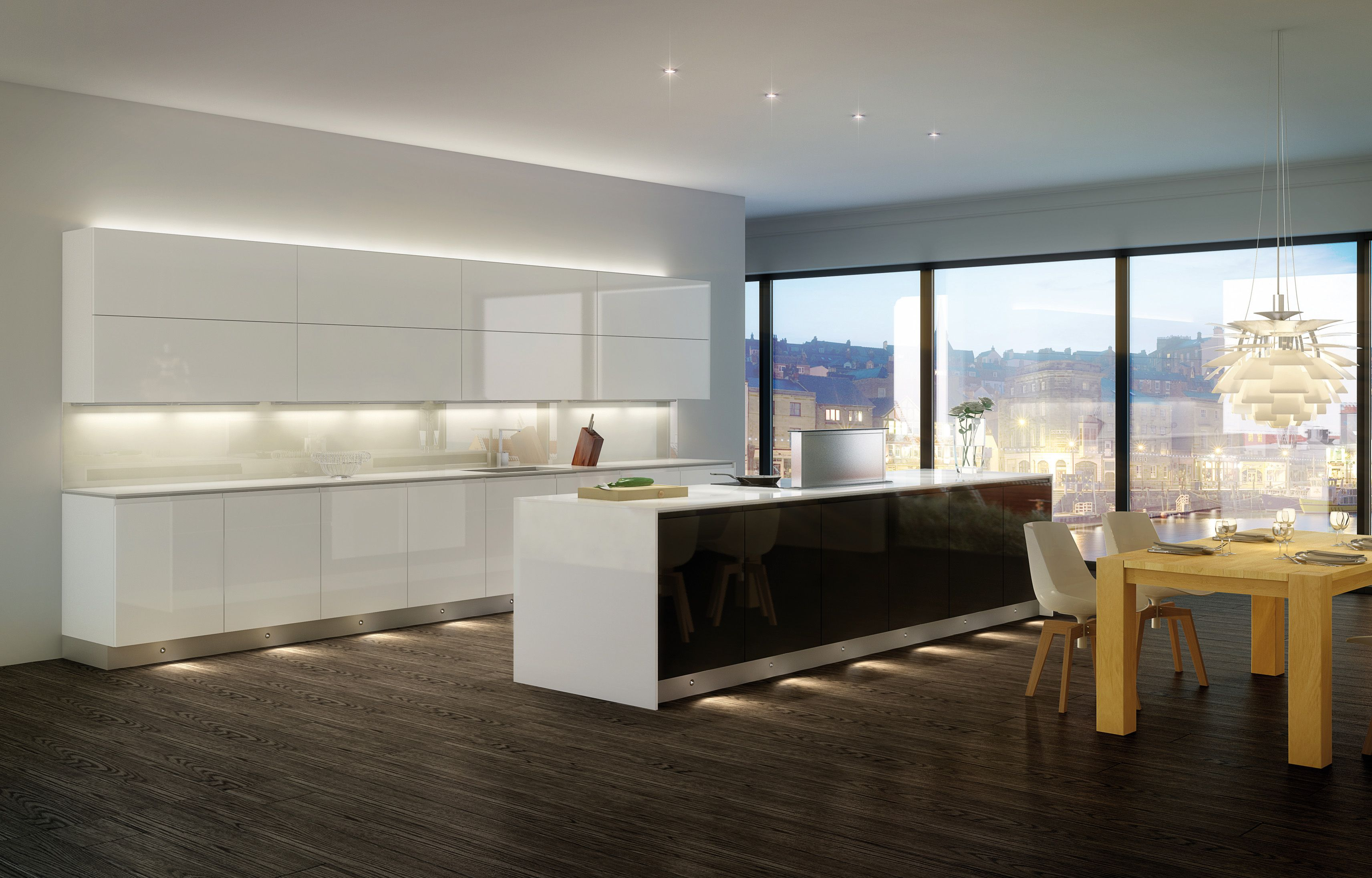 An Illuminated Modern German Kitchen Using LED Lighting Strips - Kitchen plinth strip lighting