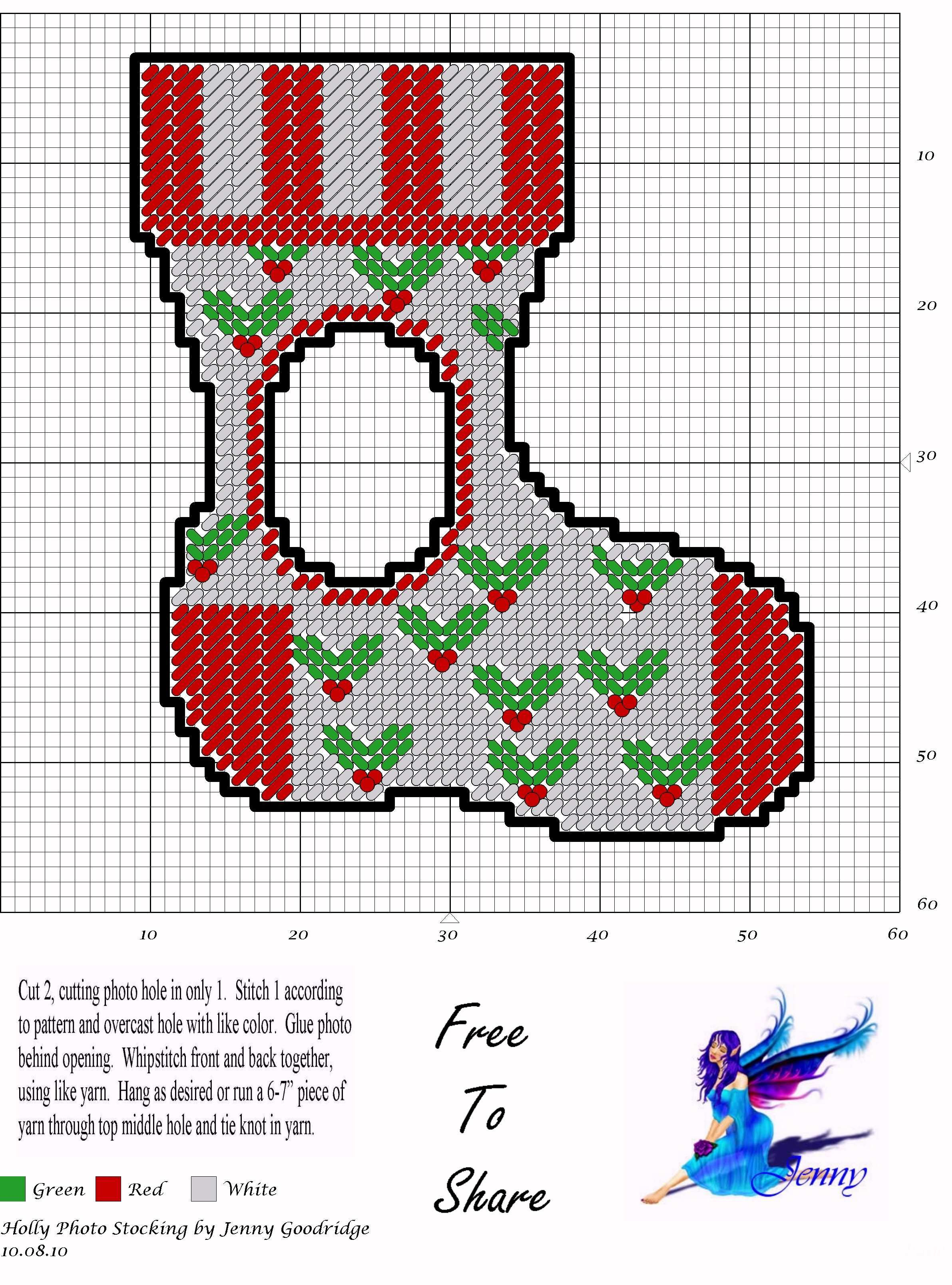 Holly Photo Stocking Plastic Canvas Patterns Plastic Canvas Christmas Plastic Canvas Ornaments