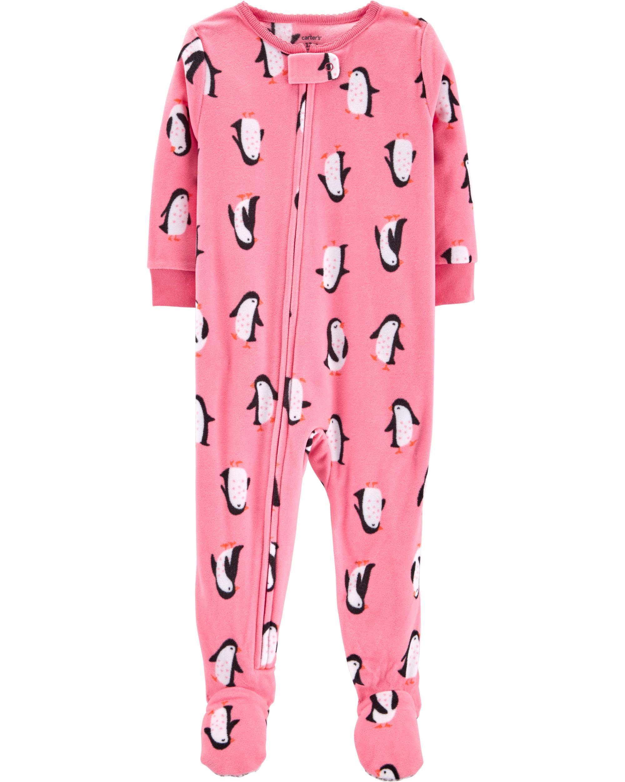 864f77795 Baby Girl 1-Piece Penguins Fleece PJs