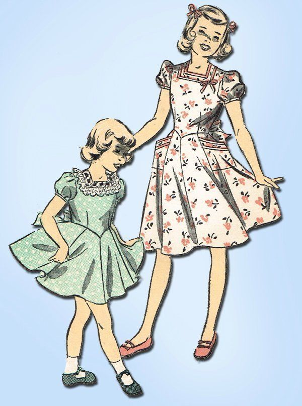 1950s Vintage Little Girls Party Dress 1951 Advance Sewing Pattern ...