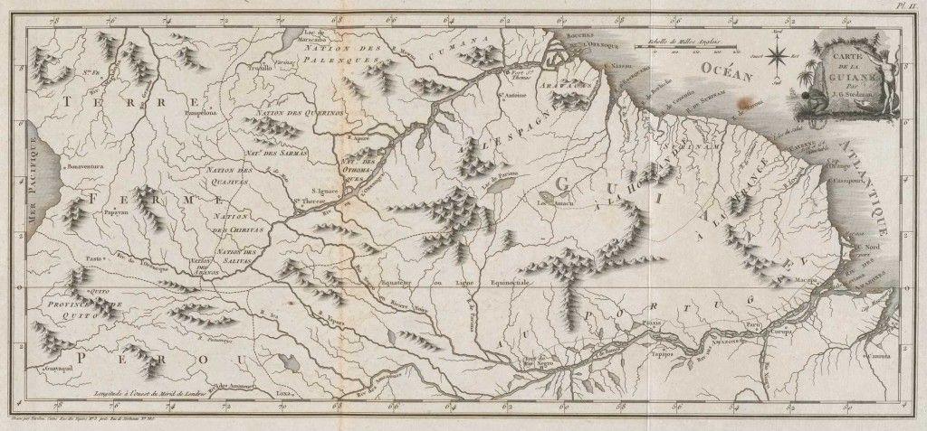 Guyana Kaart van Guyana. Ets naar de tekening van J.G. Stedman (1744-1797) door Tardieu l'ainé, in: 'Voyage a Surinam […]', Paris 1799. Zeeuws Archief, Beeld en Geluid, inv.nr 589.