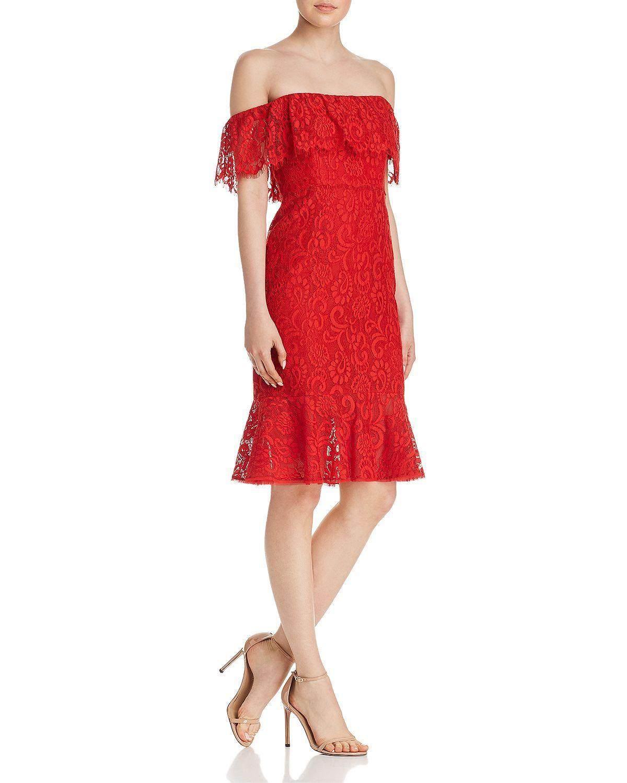 Bcbgmaxazria Off The Shoulder Lace Dress Women Bloomingdale S Red Lace Dress Cocktail Dress Party Dresses [ 1500 x 1200 Pixel ]