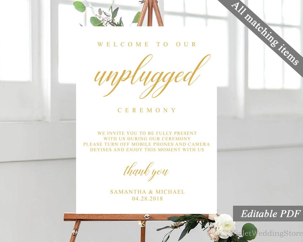 gold wedding unplugged ceremony poster template printable wedding