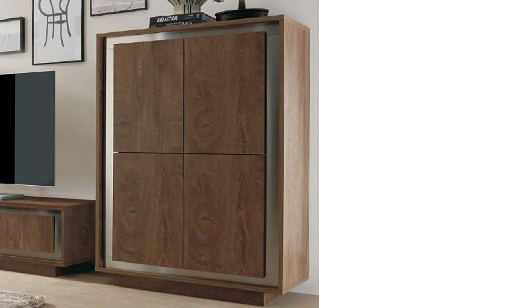 Buffet haut contemporain ch ne fonc et inox michigan - Buffet chene massif contemporain ...