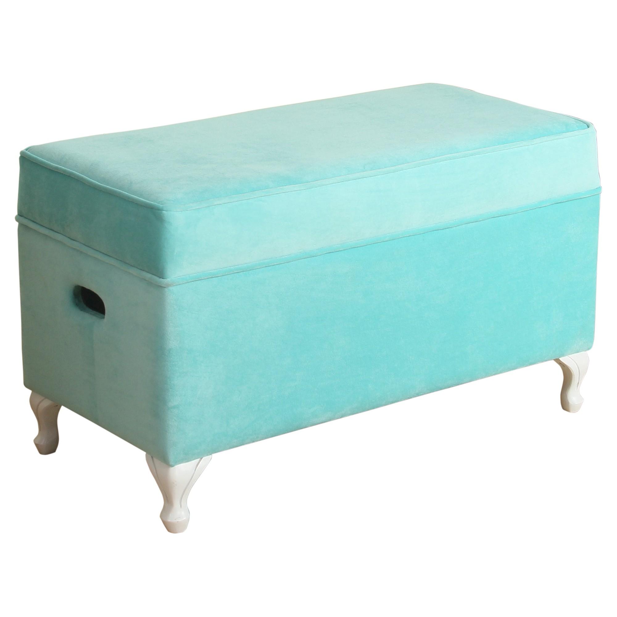 Diva Decorative Storage Bench Kids Storage Ottoman Aqua (Blue)   Homepop