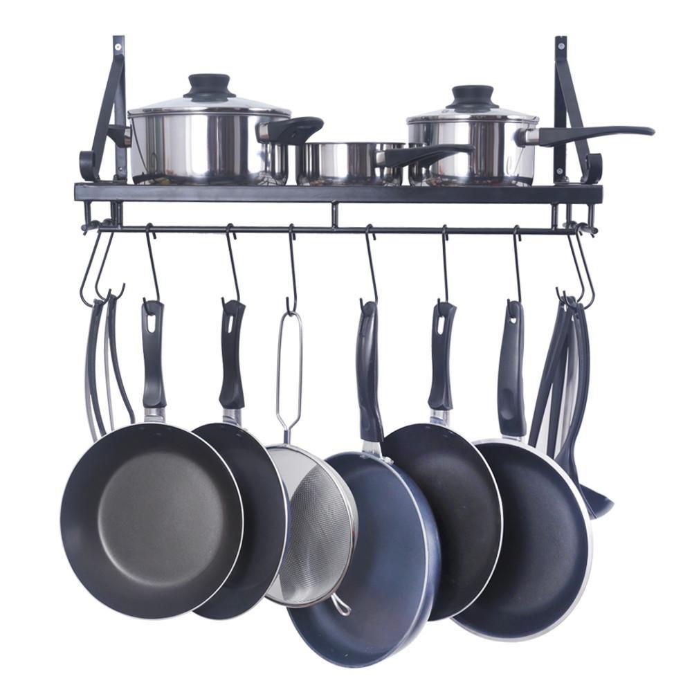 Black Wall Kitchen Pan Rack on kitchen wall coffee maker, kitchen wall stand, wall pot rack, kitchen wall pan storage,