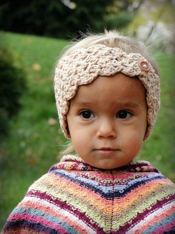 Crochet Baby Earwarmers, girls headwrap, baby headband, girls ...