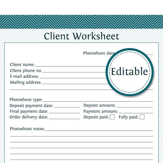 Client Worksheet - Photography Business Organizing - Fillable - new business client information template