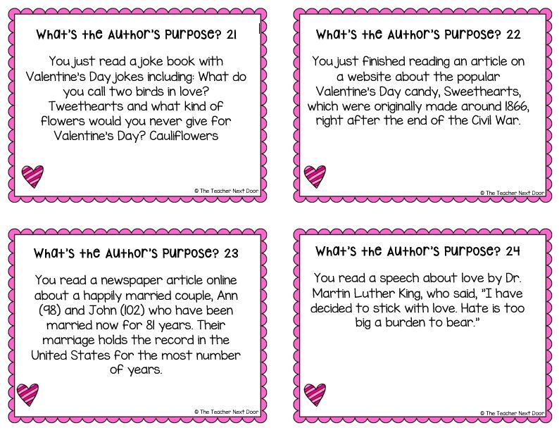 These 32 Common Core Task Cards Are Focused On The Author S Purpose And Will Help Your Students Practice Identify Authors Purpose Valentine Literacy Task Cards