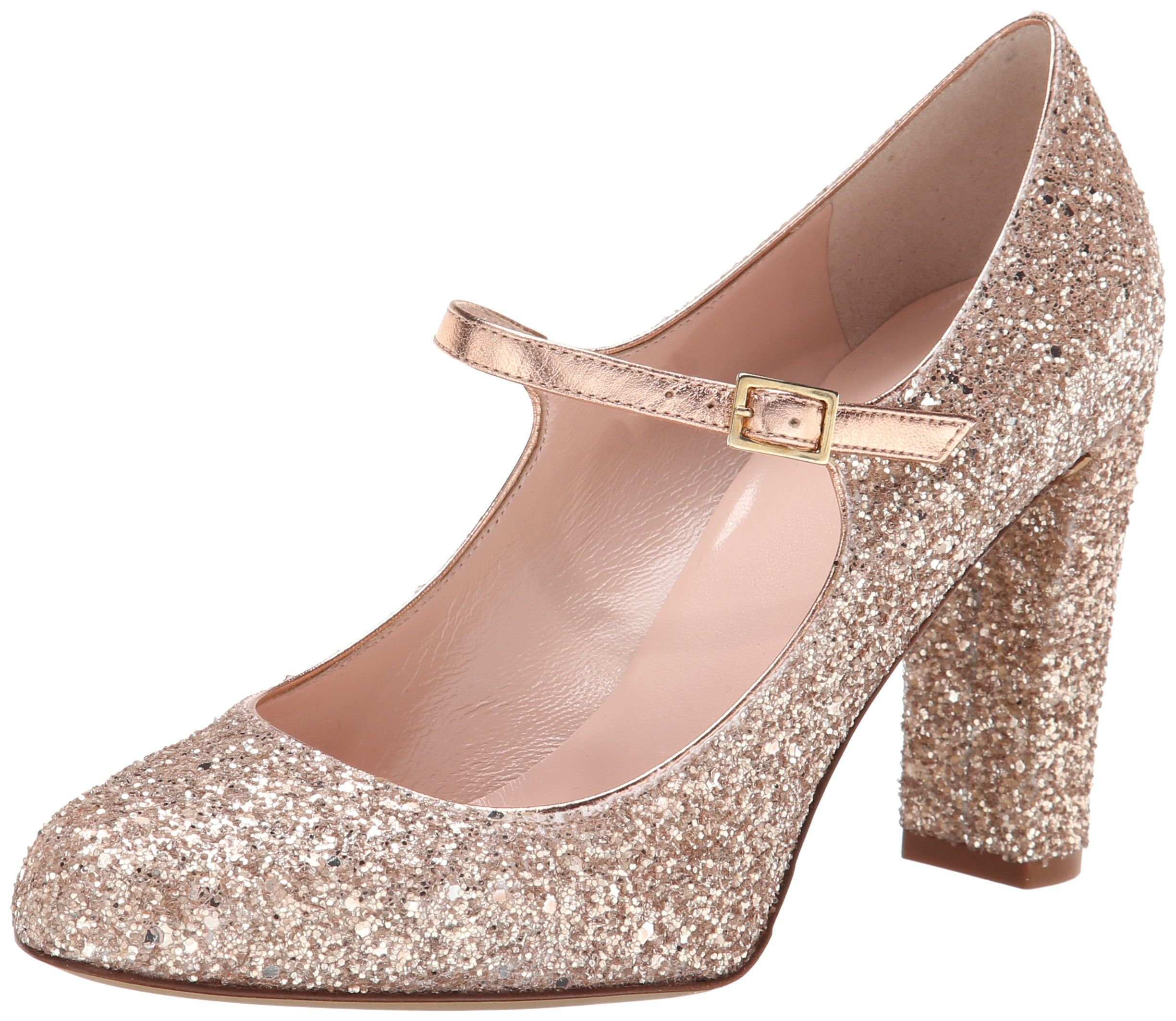 kate spade new york Angelique Dress Pump, Rose Gold Glittered pump featuring chunky heel and Mary Jane adjustable strap