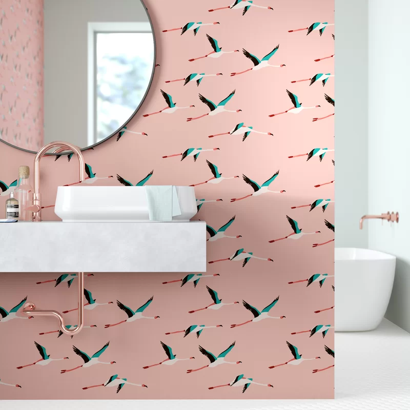 Clarissa Colton Flamingo Peel And Stick Wallpaper Panel Allmodern Peel And Stick Wallpaper Wallpaper Panels How To Install Wallpaper