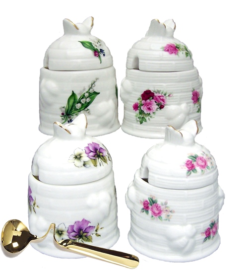 Honey Pots with Gold Honey Spoons - Set of 4 you get to choose your pattern. Love the Lilly of the Valley