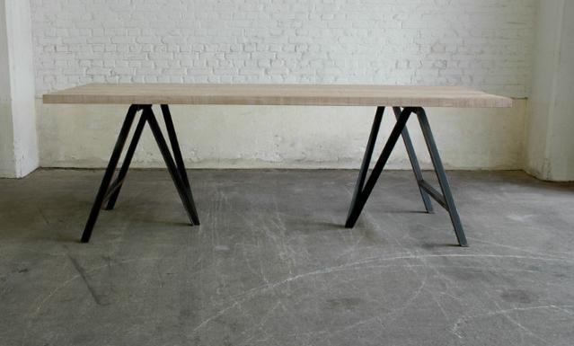 Metalen Onderstel Tafel : Eiken tafel met metalen onderstel interieur thuis