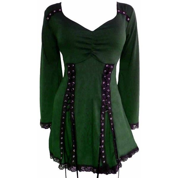 Dare To Wear Gothic Victorian Boho Women's Plus Size Electra Corset... ($65) ❤ liked on Polyvore featuring tops, gothic tops, plus size green corset, gothic corset top, plus size gothic corsets and green corset