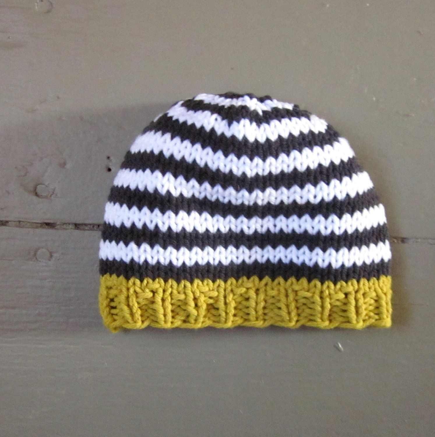 Knit Baby Boys Hat Cotton Goldenrod With Charcoal And White Stripes Little Man Little Beanie By Sweet Baby Dol Baby Hats Knitting Knitting Newborn Baby Hats
