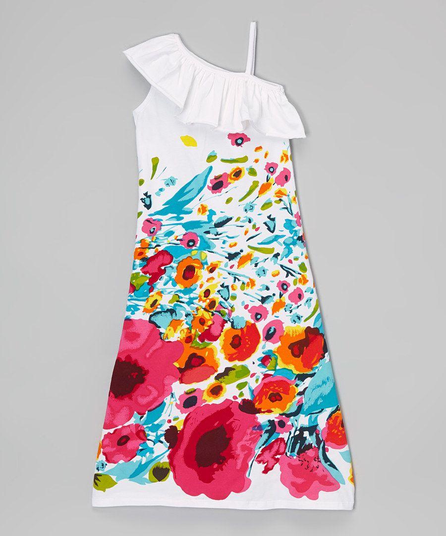 Look at this white u fuchsia floral asymmetrical maxi dress girls