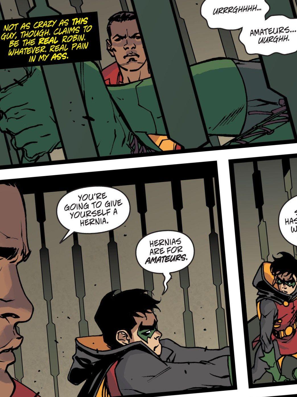 We are Robin 7. Duke Thomas. Damian Wayne.