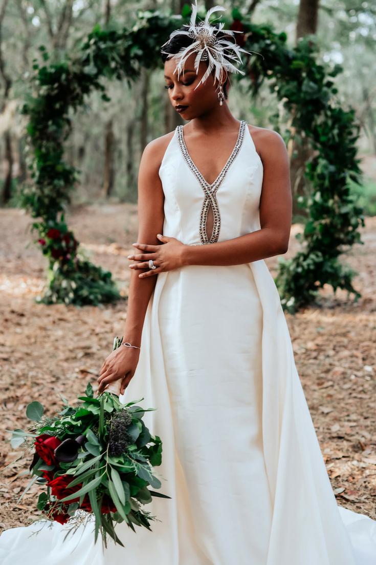 Jewel Toned Wedding Inspiration Satin And Jeweled Wedding Dress Ceremonyarch Weddingdres Jeweled Wedding Dress Wedding Dress Inspiration Jewel Tone Wedding