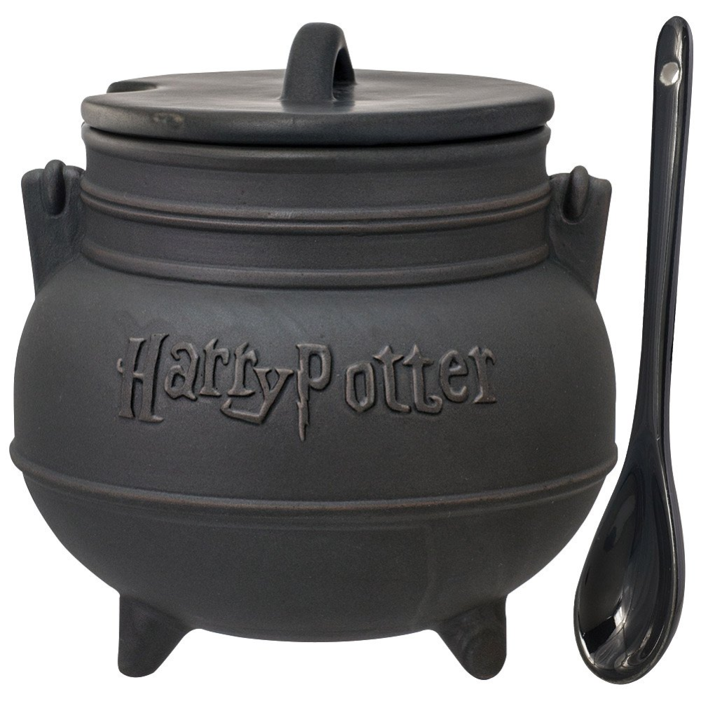 Harry Potter Black Cauldron Ceramic Soup Mug with Spoon by Monogram Decorative