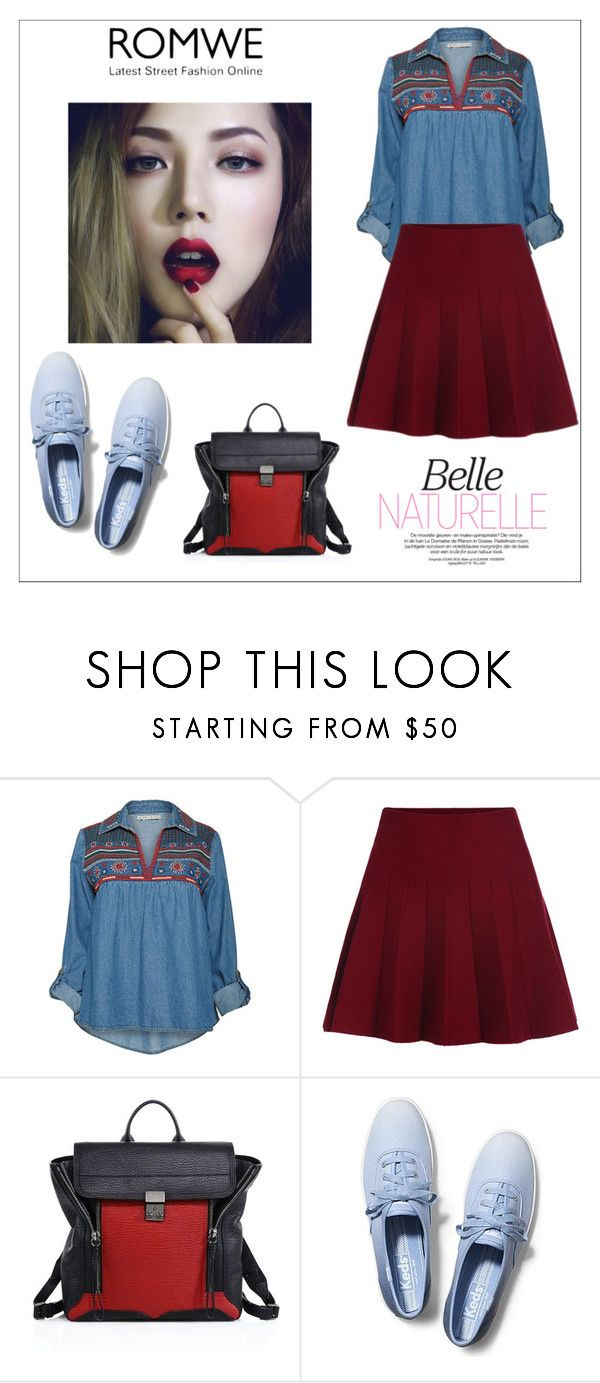 """Romwe Elastic Waist Skirt"" by ella178 ❤ liked on Polyvore featuring Alice + Olivia, 3.1 Phillip Lim, Keds, women's clothing, women's fashion, women, female, woman, misses and juniors"