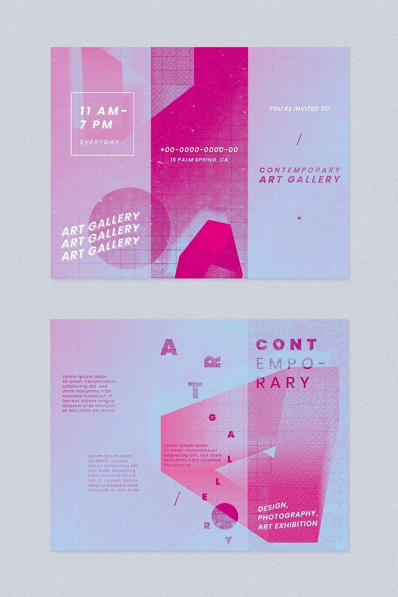 Download premium vector of Art gallery exhibition brochure
