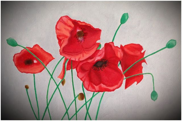 Canvas - Poppies - Painting - Flower - Red • by judithinks •